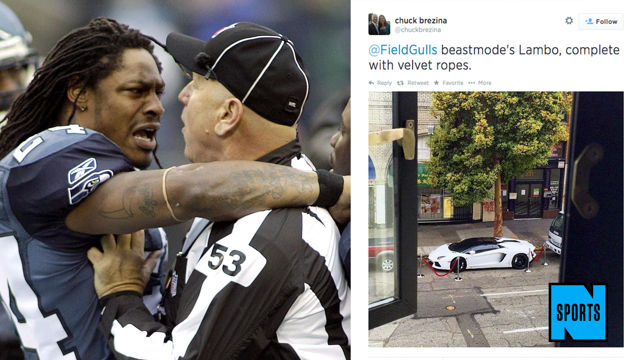 News video: Marshawn Lynch Ropes Off His Lambo, Continues to Inspire Us All